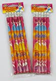 12 Princess Theme Pencils with Eraser - Children's Party Loot Bag Toy
