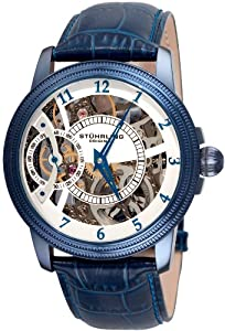 Stuhrling Original Symphony Brumalia Men's Mechanical Watch with Silver Dial Analogue Display and Blue Leather Strap 228.33L5C3