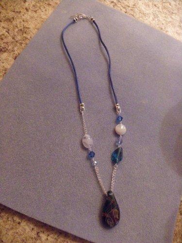 Blue Swirl Pendant Necklace