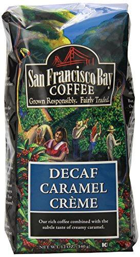 San Francisco Bay Coffee Whole Bean, Decaf Caramel Creme, 12 Ounce