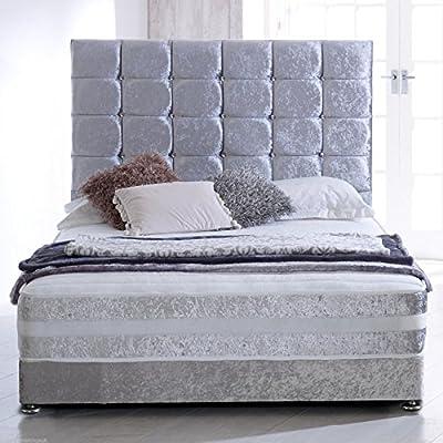 """Hf4you Sprung Memory Crushed Velvet Bed Set - 30"""" Cubed Headboard"""
