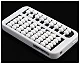 Chinese style Abacus Silicone Gel Soft Case Cover For iPhone 4S 4 4G White
