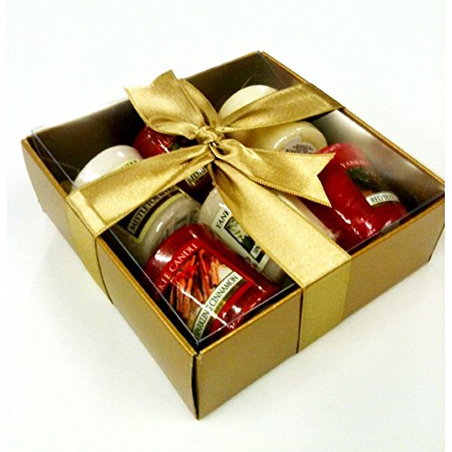 Yankee Candle luxury Christmas 6 Sampler Pack - Gift Wrapped- in Gold Box, Gold Tissue & Gold Ribbon & includes...