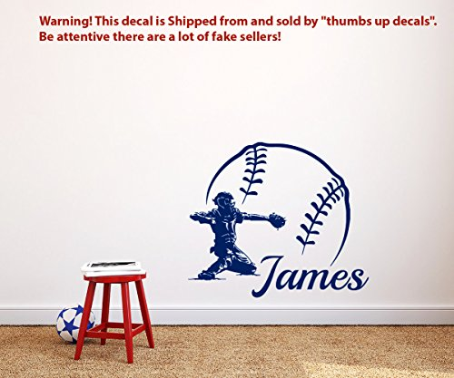 BASEBALL NAME Wall Decal Boy Custom Personalized BOYS NAME DECOR Catcher Vinyl Decal Baseball Teens Boys Room SPORTS WALL DECAL Nursery T214