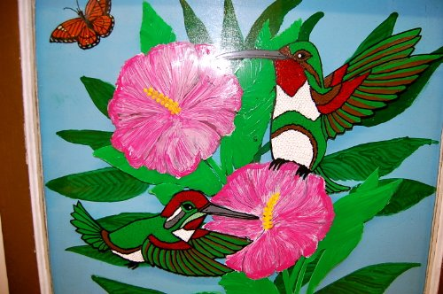 3D Ruby Throated Hummingbird Original Art on Window Frame&pane