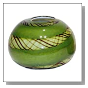 Green Hand Blown Glass 'Bubble' Vase with Brown Lines