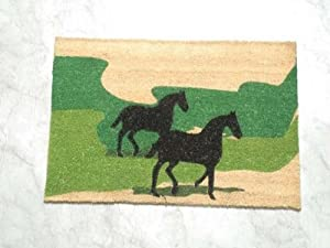 Homescapes - Door Mat - Horses on the Green - 45 x75 cm - 100% Natural Coir - Indoor and Outdoor Doormat