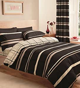 Elpaso Brown Cream King Size Duvet Cover Set + Free Fitted Sheet 4pc Complete Set by Linenstowels2011