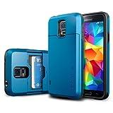 Galaxy S5 ケース SpigenR **IC カード 収納可能** スリム・アーマー CS【カード スライダー】 【ウォレット ケース】 2枚 カード入り 【国内正規品】 (エレクトリック・ブルー【SGP10993】)
