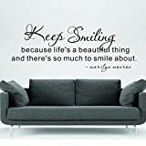 ColorfulHall 50.8x18.9in Keep smiling Because life's beautiful thing -Marilyn Monroe Actress wall sticker art for coffe house single room