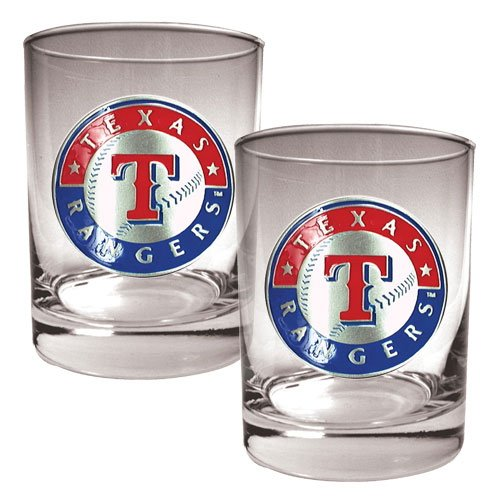 MLB Texas Rangers Two Piece Rocks Glass Set - Primary Logo at Amazon.com