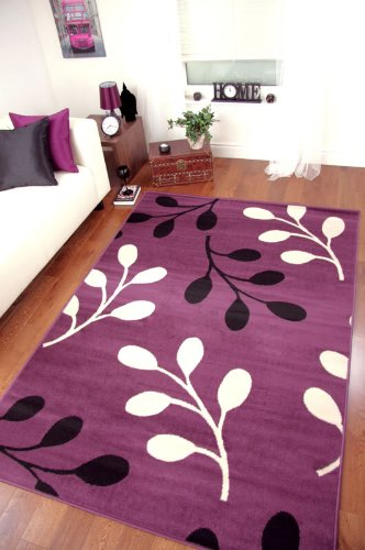 Carpets extra large modern leaf pattern purple black for Plum and cream rug