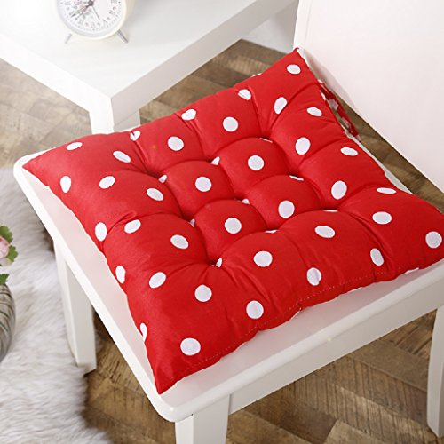Chair Pads, Mikey Store Soft Home Office Square Cotton Polka Dot Seat Cushion Buttocks Chair Cushion (Red) (Rocking Chair Pad White compare prices)