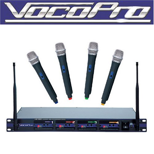 VocoPro  UHF-5800 Professional 4 Channel UHF Wireless Microphone System