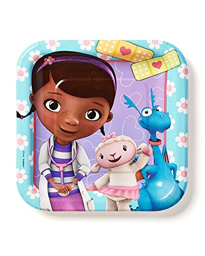 "American Greetings Doc McStuffins 7"" Square Plate, 8 Count, Party Supplies Novelty"
