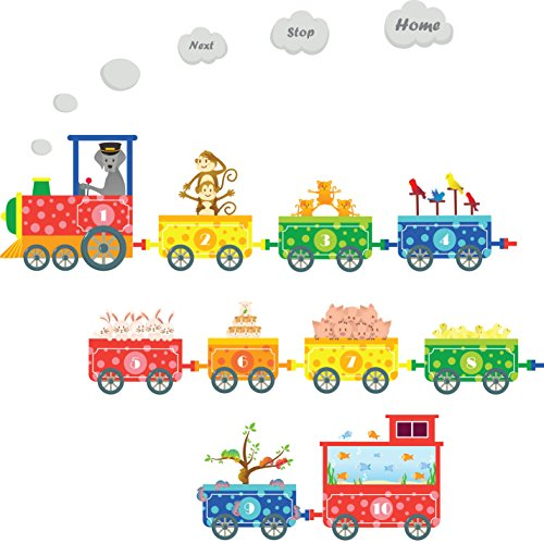 Numbers Pet Train Wall Decals - Fun and Educational Animals for Nursery and Kids Rooms - Easy Peel Wall Stickers (Decal Numbers Kids compare prices)