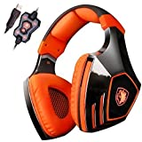 Sades A60 7.1 Surround Sound Stereo PC Pro USB Gaming Headsets Over-ear Headphones with Microphone Vibration (Orange)