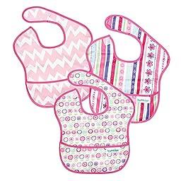Bumkins Waterproof SuperBib 3 Pack, Girl (G8-Ribbon/Bloom/Pink Chevron) (6-24 Months)