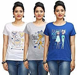 Flexicute Women's Printed Round Neck T-Shirt Combo Pack (Pack of 3)- Grey Milange, White & Royal Blue & Color. Sizes : S-32, M-34, L-36, XL-38