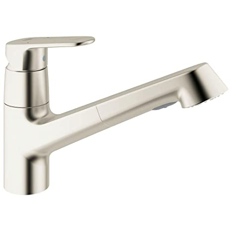 Grohe 32946DCE   Europlus Single-Handle Pull-Out Sprayer Kitchen Faucet in Supersteel with 1.5gpm Water Care