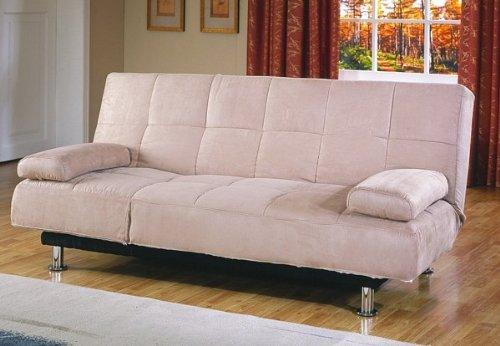 Cheap Contemporary Peat Microfiber Futon Sofa w Mattress