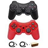 Kolopc Wireless Bluetooth Controller For PS3 Double Shock - Bundled with USB charge cord … (Red and Black) (Color: Red and Black)