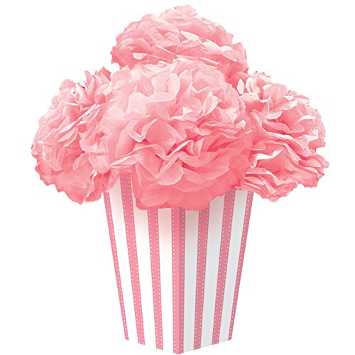 "Amscan Dainty New Stripes Fluffy Flower Party Centerpiece, 10.8 x 10.5"", Pink"