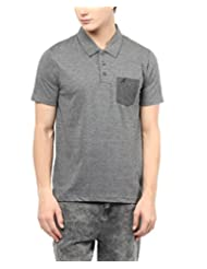 American Crew Men's Solid Polo With Contrast Pocket T-Shirt (Anthra Melange)