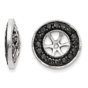 14k White Gold Black Diamond Earring Jackets