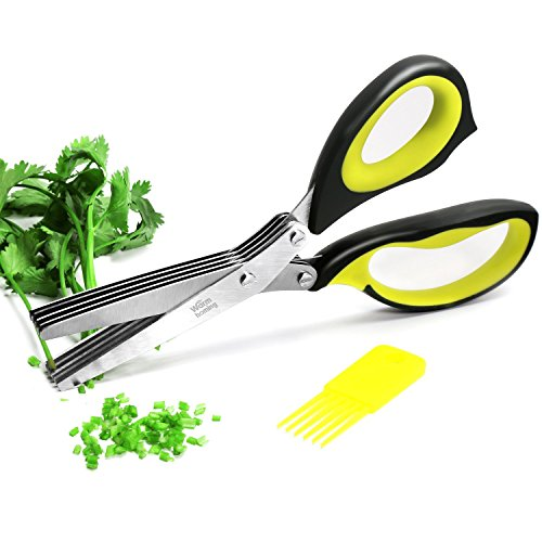 Herb Scissors - Multipurpose Kitchen Shears with 5 Stainless Steel Blades and Cover - Attached Handy Cleaning Comb - Chef
