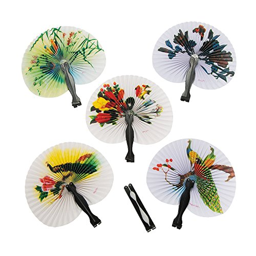 Fun Express Mini Oriental Folding Fans - 12 Pieces (Miniature Hand Fans compare prices)