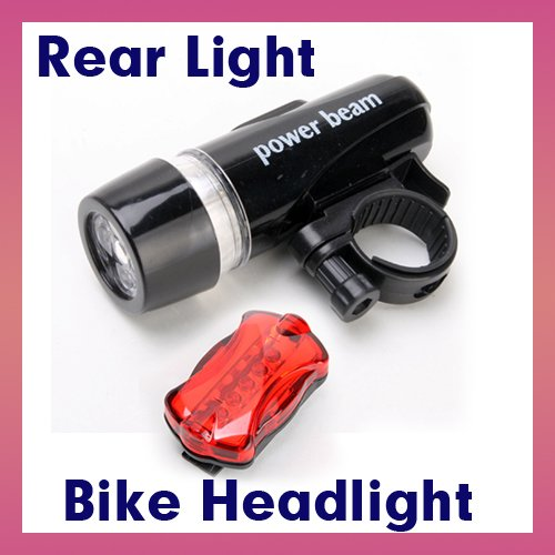 Waterproof 5 Led Bike Bicycle Front Head Light + 5 Led Rear Tail Flashlight Lamp