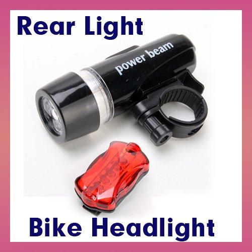 Waterproof 5 Led Bike Bicycle Front Head Light + 5 Led Rear Tail Flashlight Lamp