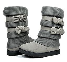 Dream Pairs KLOVE Girls Knit Sweater Winter Fur Kids Boots Grey Size 9