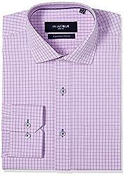 Jadeblue Men's Formal Shirt (1116204007PWJ2_07PW_40_Pink and Blue)