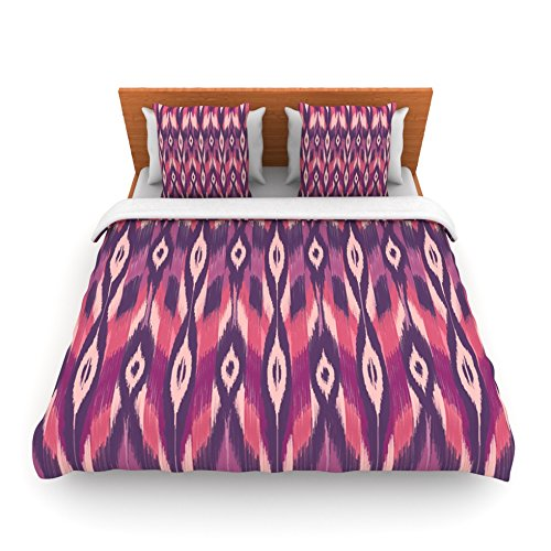 "Kess Inhouse Amanda Lane ""Purple Ikat"" Pink Lavender King Fleece Duvet Cover, 104 By 88-Inch front-956421"
