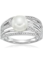 Sterling Silver Freshwater Pearl Diamond Ring (1/4cttw, I-J Color, I2-I3 Clarity), Size 7