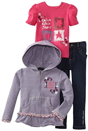 Calvin Klein Girls 2-6x Hooded Top, Pink, 4T