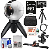 Samsung Gear 360 Spherical VR HD Video Camera Camcorder with 64GB Card + Bike Handlebar & Helmet Mounts + Case + Flex Tripod + Kit