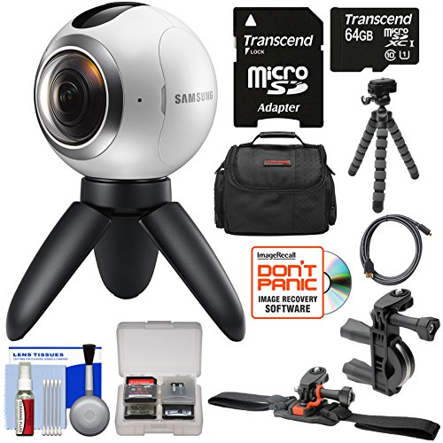 Samsung Gear 360 Spherical VR HD Video Camera Camcorder with 64GB Card + Bike Handlebar & Helmet Mounts + Case + Flex Tripod + Kit
