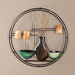 SEI Vase-and-Bowl Hand-Painted Metal Wall Art