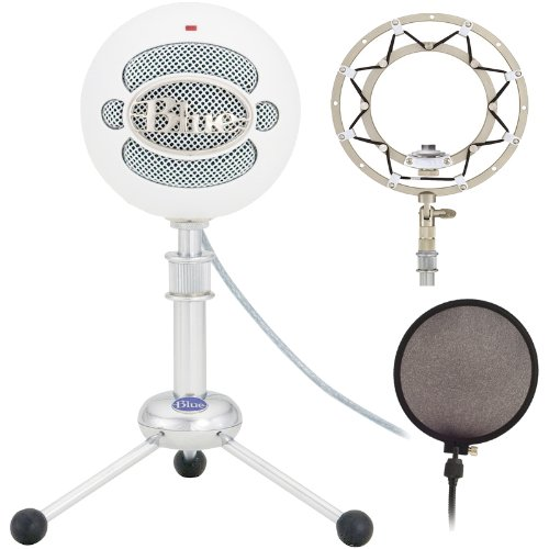 Blue Microphones Snowball Plug-And-Play Usb Microphone Bundle With Ringer Universal Shockmount And Pop Filter - White