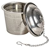 Premium Loose Leaf Tea Infuser By Schefs - Stainless Steel - Single Cup - Large Capacity - Perfect Strainer for Fine and Large Loose Leaf Tea - Money Back Guarantee