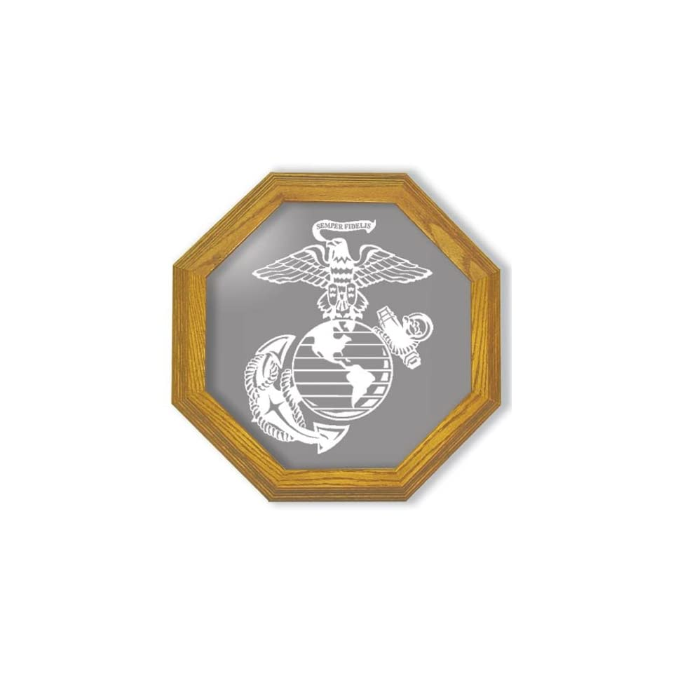 Decorative Framed Mirror Wall Decor With Marine Corp Military Etched Mirror   Marine Corp Military Decor   Unique Marine Corp Military Gift Ideas   Ready To Hang   20 octagon
