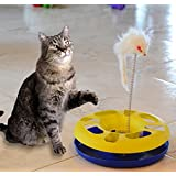 FUN CAT TOYS-Cat Toys Plus 2 toys in 1 interactive toy for cats with mouse shaped swatter and ball in track- great addition to cat trees and houses and bed- They'll meow with joy! FUN gift for YOUR Cat Lover