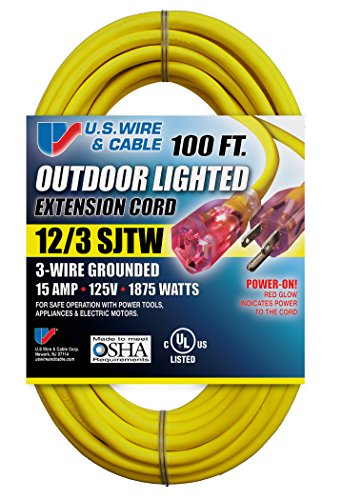 US Wire 74100 12/3 100-Feet SJTW Yellow Heavy-Duty Lighted Extension Cord (Cable Extension Cord compare prices)