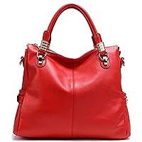 PASTE Women's Genuine Leather Hobo Tote purse satchel Handbag/Shoulder Strap Red