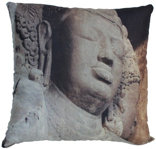 Souvnear Holiday Gifts - Unique Pillowcases - Square, Large 18 X 18 Inch Buddha Face Print Taupe Throw Pillow Cover From India With Hidden Zippers For Your Couch, Sofa, Ottoman, Rocking Chairs And Beds - Decorative Cushion Covers And Pillow Cases For Your front-579021