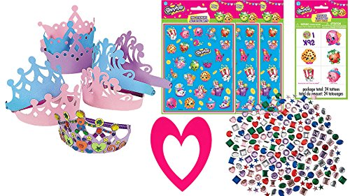 [Shopkins Theme Decorate Your Own Party Tiara for 12 Children, 12 Foam Tiaras, 12 Sticker Sheets, 500 Adhesive Rhinestones, 16 Pink Photo Frames, 24 Tattoos, Fun Party Favor Set or Party] (Tattoos Of Princess Crowns)