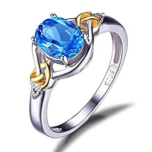 JewelryPalace Love Knot 1.5ct Natural Swiss Blue Topaz Diamond 925 Sterling Silver 18K Yellow Gold Ring Size 8